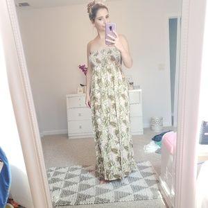 Maxi palm print tropical dress